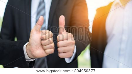 Closeup hand of finger like businessmen success worker office management marketing feedback great and perfect