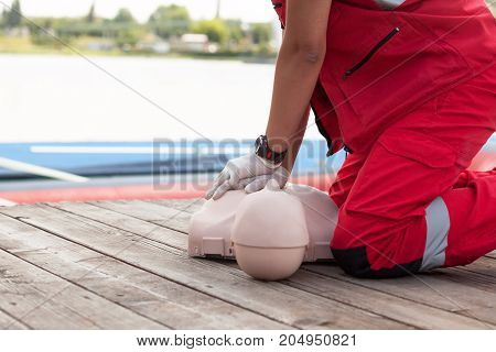 First aid training for drowning. Cardiopulmonary resuscitation - CPR.