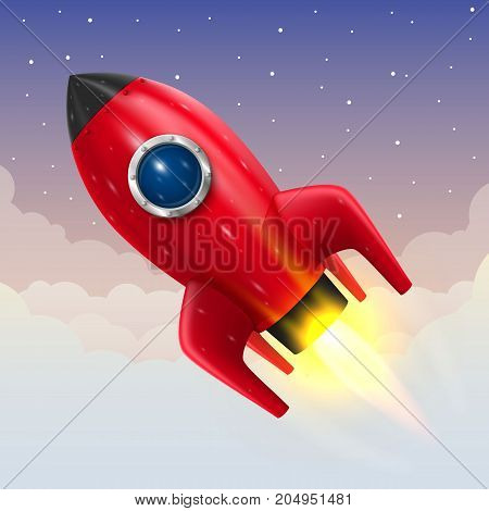 Space rocket launch, Startup creative idea, Rocket background, Vector illustration