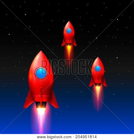 Space rockets launch, Creative idea, Red rockets background , Vector illustration