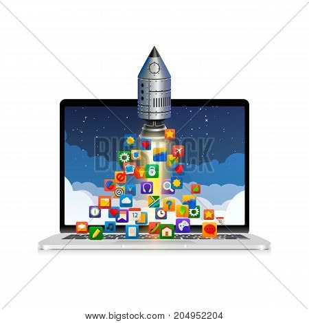 Running a space rocket from a computer, Splash creative idea, Rocket background. Vector illustration