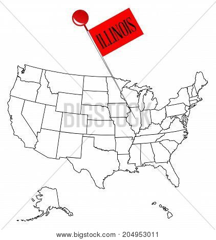 An outline map of USA with a knob pin in the state of Illinois