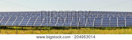 Panorama of the lot of solar panels.