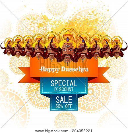easy to edit vector illustration of Ravana monster for Dussehra in Happy Dussehra Sale promotion offer background showing festival of India