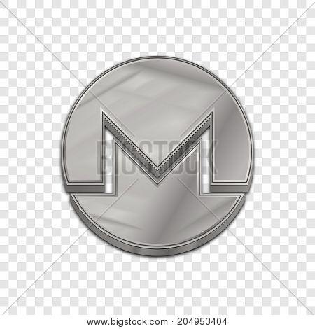 Silver monero coin symbol isolated web vector icon. Monero coin trendy 3d style vector icon. Raised symbol illustration. Silver monero coin crypto currency sign.