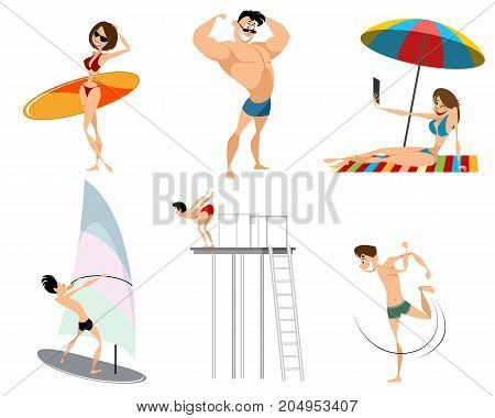 Vector illustration of six beach characters set