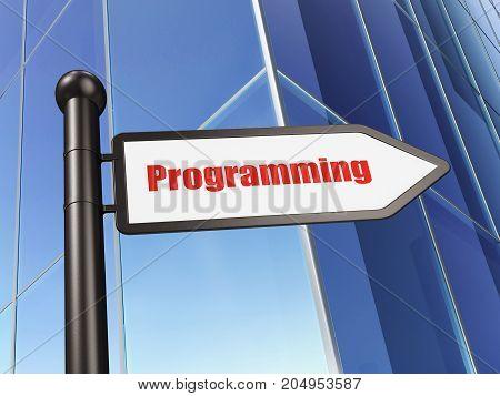 Database concept: sign Programming on Building background, 3D rendering
