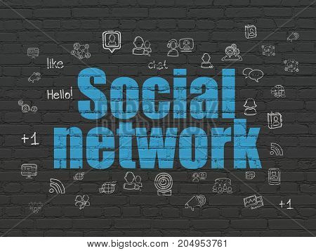 Social media concept: Painted blue text Social Network on Black Brick wall background with  Hand Drawn Social Network Icons