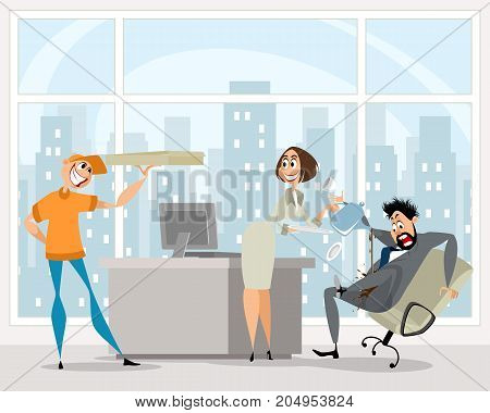 Vector illustration of funny situation in the office