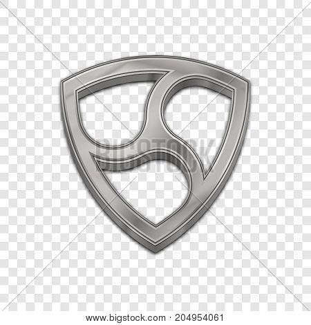 Silver nem coin symbol isolated web vector icon. Nem coin trendy 3d style vector icon. Raised symbol illustration. Silver nem coin crypto currency sign.
