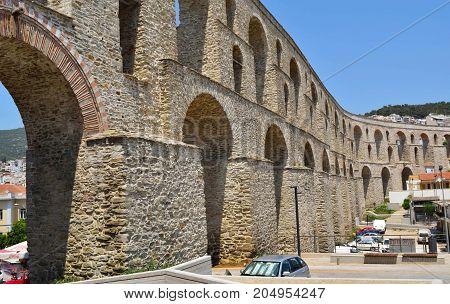 Medieval aqueduct Kamares in city Kavala Greece.