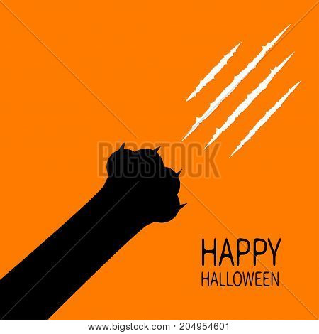 Happy Halloween card. Bloody claws animal scratch scrape track. Black cat scratching paw leg foot corner. Cute cartoon character silhouette. Baby pet collection. Flat design. Orange background. Vector