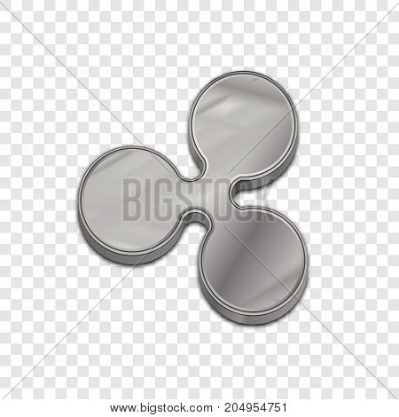 Silver ripple coin symbol isolated web vector icon. Ripple coin trendy 3d style vector icon. Raised symbol illustration. Silver ripple coin crypto currency sign.