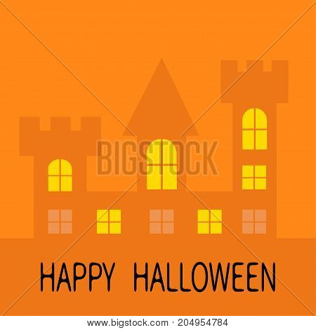 Happy Halloween. Haunted house shadow Dark castle tower silhouette. Switch on yellow light at the windows triangle roof. Greeting card. Flat design. Orange background. Isolated. Vector illustration