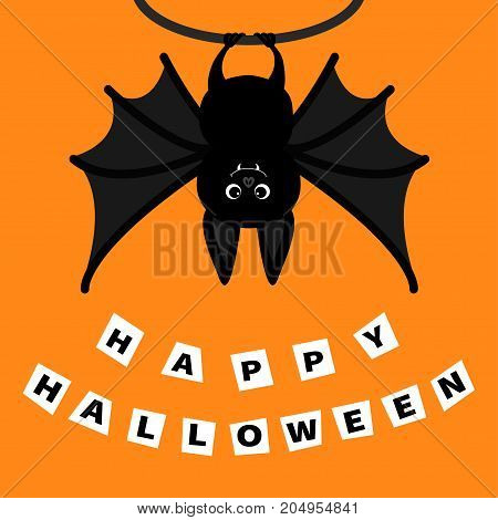 Bat hanging on the tree ring. Happy Halloween paper card. Cute cartoon character with big wing ears and legs. Black silhouette. Forest animal. Flat design. Orange background. Isolated. Vector