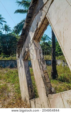 Ruins of once grand mansion or lodge on island Bubaque in Bijagos Archipelago of Guinea Bissau, West Africa.