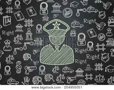Law concept: Chalk Green Police icon on School board background with  Hand Drawn Law Icons, School Board