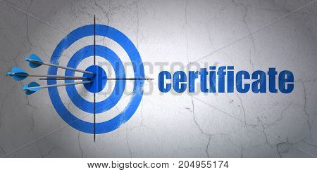 Success law concept: arrows hitting the center of target, Blue Certificate on wall background, 3D rendering