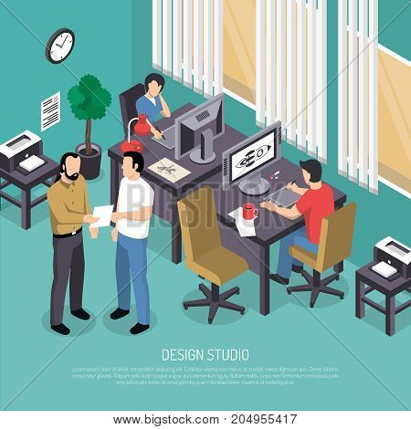 Turquoise design studio with computer equipment and painters at workplaces with graphic tablets isometric vector illustration