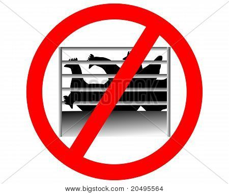 Prohibition Sign Caging Of Hen