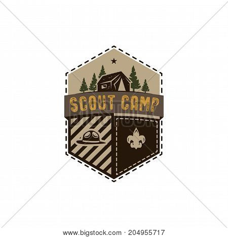 Traveling, outdoor badge. Scout camp emblem. Vintage hand drawn design. Retro colors palette. Stock vector illustration, insignia, rustic patch. Isolated on white background.