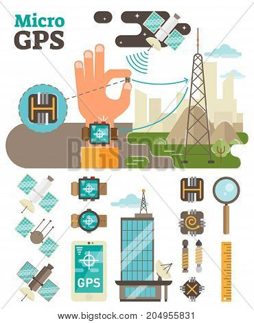 Micro GPS technical illustration set. Main scene + custom graphic elements.