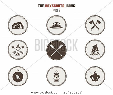 Boy scouts icons, patches. Camping stickers. Tent, axe, campfire, compass and others. Stock vector illustration isolated on white background. Part 2.