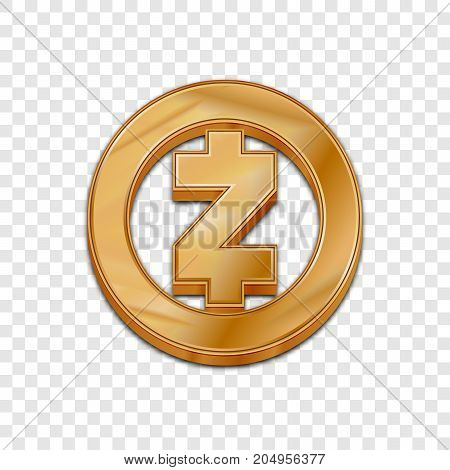 Golden Zcash coin symbol isolated web vector icon. Zcash coin trendy 3d style vector icon. Raised symbol illustration. Golden Zcash coin crypto currency sign.