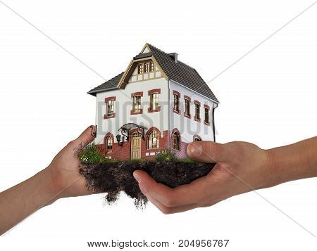 Hands holding a house. The concept of relocation mortgage inheritance