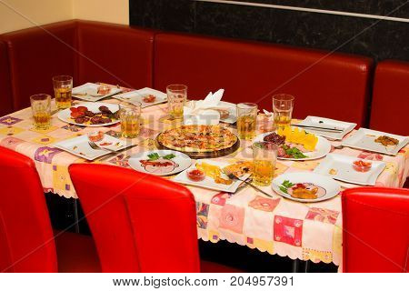 table with children's food at their birthday.