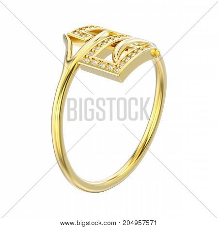 3D illustration white gold or silver engagement decorative diamond ring with reflection and shadow on a white background