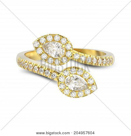 3D illustration isolated yellow gold leaflet diamond ring with shadow on a white background