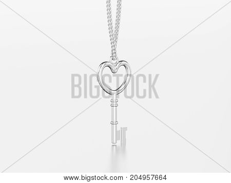 3D illustration white gold or silver decorative key in the form of a heart necklace on chain with reflection and shadow on a grey background