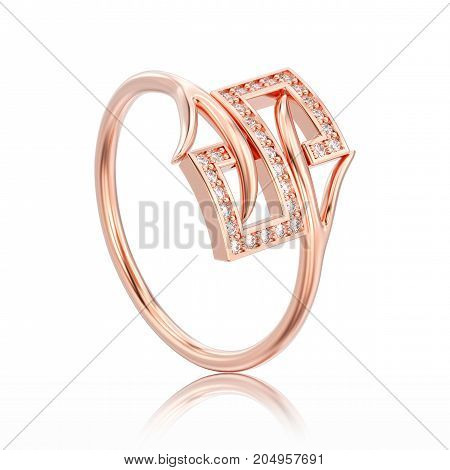 3D illustration white gold or silver engagement decorative diamond ring with reflection on a white background