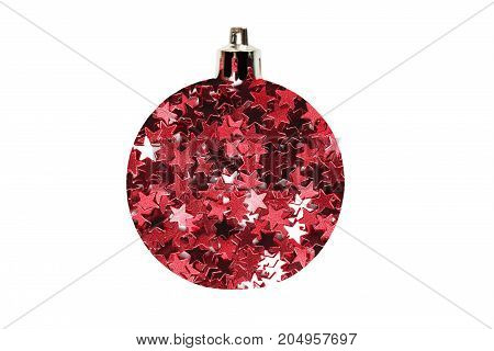Decorative christmas ball made of red stars glitter isolated over white