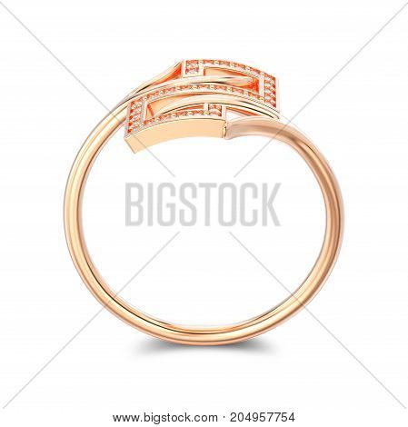 3D illustration rose gold engagement decorative diamond ring with shadow on a white background