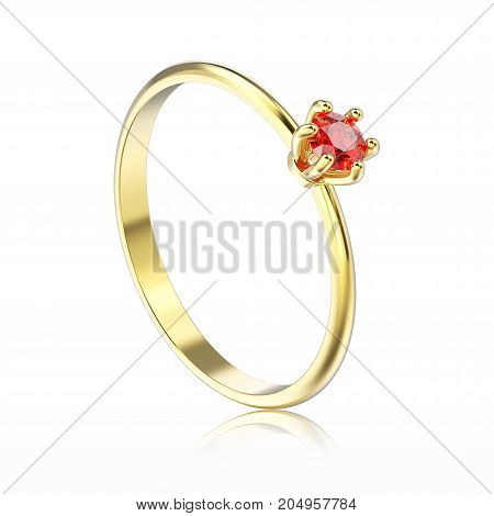 3D illustration isolated yellow gold traditional solitaire engagement red ruby ring with reflection on a white background
