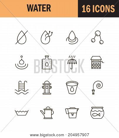 Water icon set. Collection of water drop line icons. 16 high quality logo of wave on white background. Pack of symbols for design website, mobile app, printed material, etc.