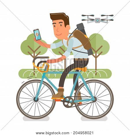 Generation Y, Millennial Flat vector illustration showing a guy riding a bike with backpack and a case on a shoulder, holding phone and being fallowed by a drone.