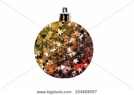 Decorative christmas ball made of golden and red stars glitter on white background