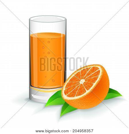 Orange fresh juice with orange on white background