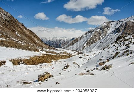 High mountains under snow in the winter. Russia. Sayani