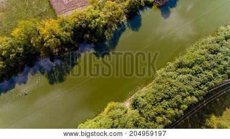 Top view on the river. Aerial view.