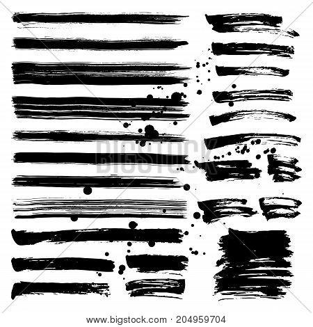 Set of brush strokes and splashes on white background. Vector illustration.