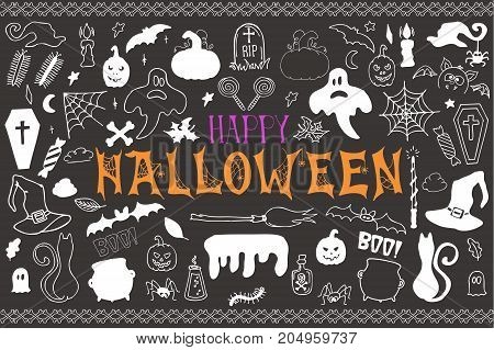 Sketchy vector hand drawn Doodle cartoon set of objects and symbols on the Halloween theme, Holiday design elements  witch hat, cauldron, cat, Ghost, magic wand, spiders and spider web, broom, pumpkin