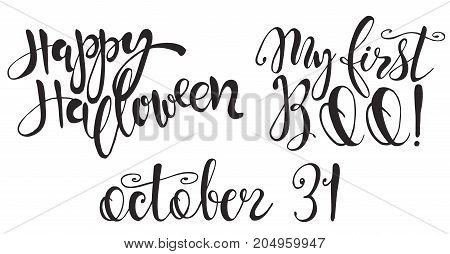 Set with Halloween labels with Hand drawn vector inscriptions and quotes