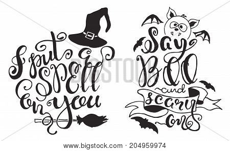 Set with Halloween labels with Hand drawn bat, witch hat and broom, vector illustration and quotes