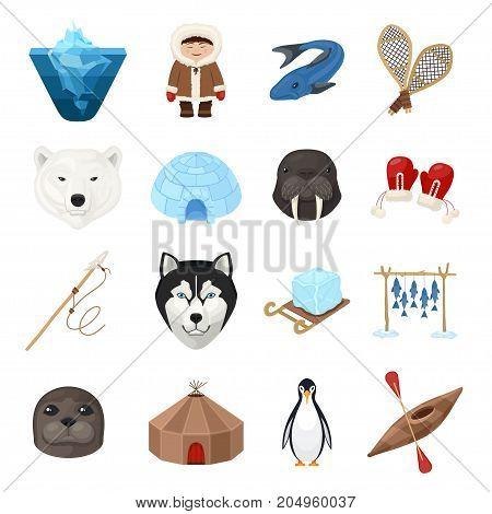 Chukchi cartoon set. Indigenous people, reindeer herding, sea mammal hunting culture. Vector flat style cartoon illustration isolated on white background