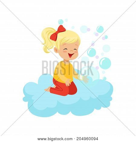 Sweet little girl sitting on cloud playing with soap bubbles, kids imagination and dreams vector illustration isolated on a white background