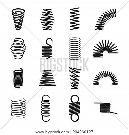 Metal spring icon. Elastic objects for clocks, music boxes, windup toys, machine industry. Vector line art illustration isolated on white background poster